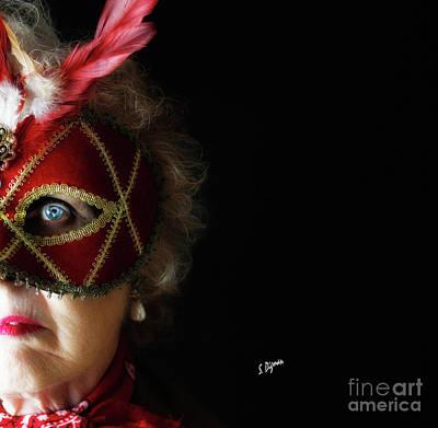Woman In Mask  Art Print by Steven Digman