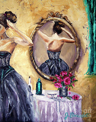 Woman In Mirror Art Print