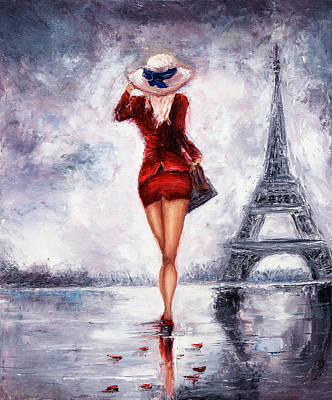 Paris Skyline Royalty-Free and Rights-Managed Images - Woman in Paris by Boyan Dimitrov