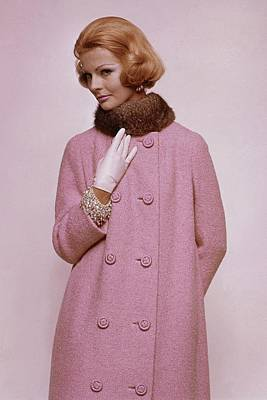 Photograph - Woman In Pink Tweed Coat by Bert Stern