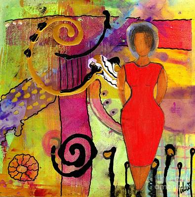 Art Therapy Mixed Media - Woman In Red by Angela L Walker