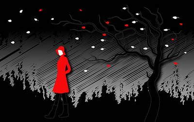 Trench Digital Art - Woman In Red Hat And Trench Coat Walking In Blustery Autumn Rain by Serena King