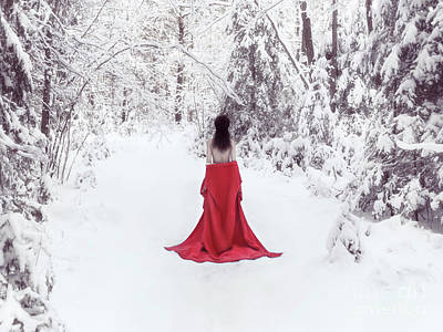 Woman In Red Kimono And Bare Shoulders Walking Away In Snow Art Print