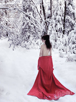 Asian Nude Photograph - Woman In Red Kimono Lowered Down To Her Waist Walking Away In Sn by Awen Fine Art Prints