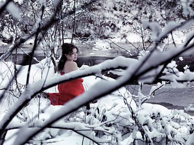 Sexy Woman Nature Photograph - Woman In Red Kimono With Bare Shoulders In Snow by Awen Fine Art Prints