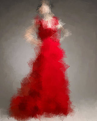 Digital Art - Woman In Red by Nancy Levan