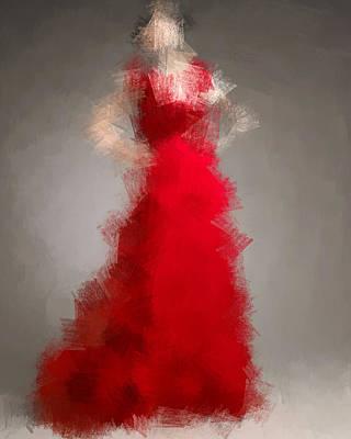 Digital Art - Woman In Red by Nancy Levan