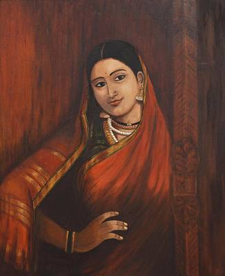 Ravi Painting - Woman In Saree - After Raja Ravi Varma by Usha Shantharam