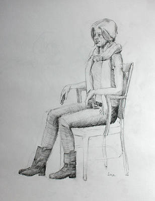 Inner World Drawing - Woman In Scarf by Mark Johnson