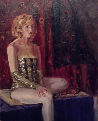 Woman In Sequins Art Print by Mary Marin