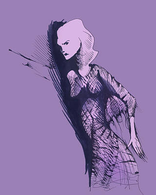 Art Print featuring the drawing Woman In Shadows by Keith A Link