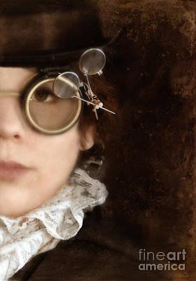 Woman In Steampunk Clothing  Art Print by Jill Battaglia