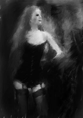 Woman In Stockings Art Print