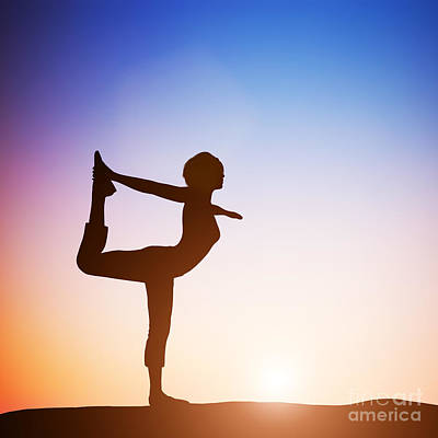 Balance Photograph - Woman In The Dancer Yoga Pose Meditating At Sunset by Michal Bednarek