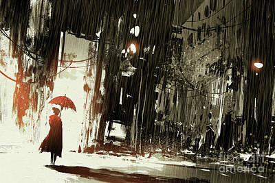 Rainy Day - Woman In The Destroyed City by Tithi Luadthong