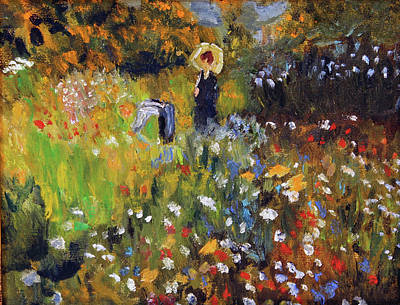 Woman In The Garden After Renoir Original