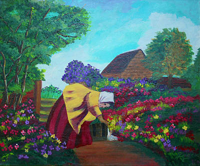Painting - Woman In The Garden by Dina Jacobs