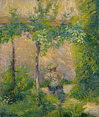 Vine Painting - Woman In The Garden by Hippolyte Petitjean