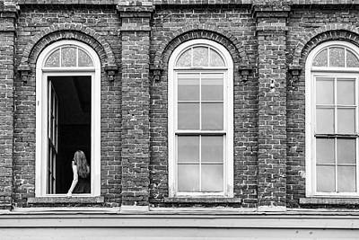 Photograph - Woman In The Window Black And White by Sharon Popek