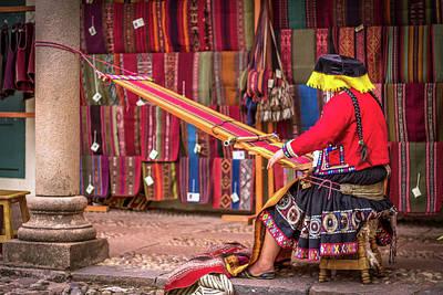 Woman In Traditional Dress Weaving Yarn Art Print by Mao Lopez