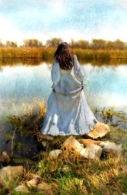 Woman In Victorian Dress By Water Print by Jill Battaglia