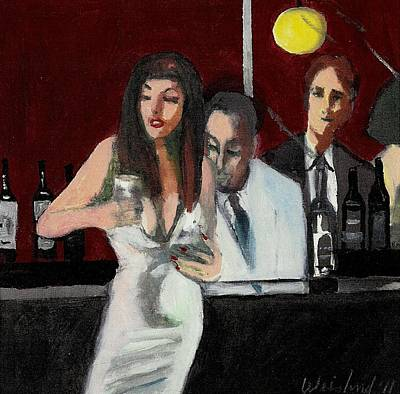 Woman In White Dress Happy Hour Original