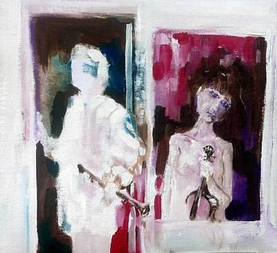 Woman In Window   Man In Door  Art Print by Chris Walker