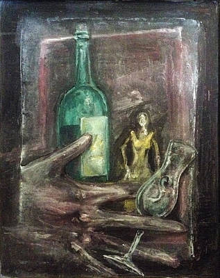 Art Print featuring the painting Woman In Yellow Dress by Keith A Link