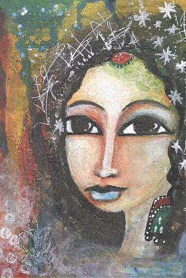 Art Print featuring the mixed media Woman - Indian by Prerna Poojara
