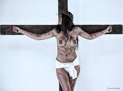Christ On Cross Photograph - Woman Jesus On Cross I by Ramon Martinez