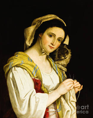 Painting - Woman Knitting With Cat by Juan Cordero