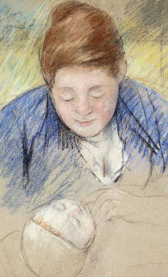 Caring Mother Painting - Woman Leaning Over Baby by Mary Stevenson Cassatt