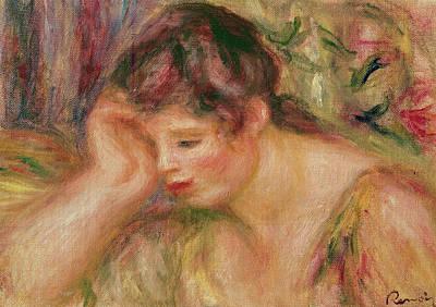 Reverie Painting - Woman Leaning by Pierre Auguste Renoir