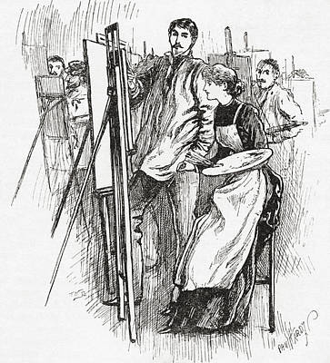 Atelier Drawing - Woman Learning To Paint In 19th Century by Vintage Design Pics