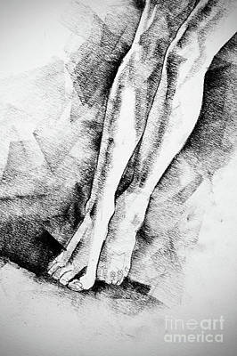 Drawing - Woman Legs Figure Drawing by Dimitar Hristov