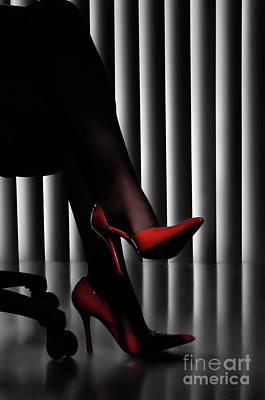 Woman Legs In Red Shoes Art Print