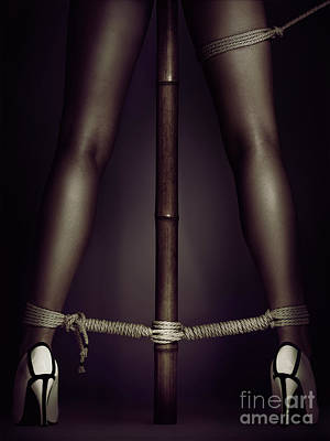 Photograph - Woman Legs Tied With Ropes To Bamboo Pole Erotic Shibari Bondage by Oleksiy Maksymenko