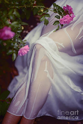 Photograph - Woman Legs Under Wet Summer Dress In Rose Garden Art Photo Print by Oleksiy Maksymenko