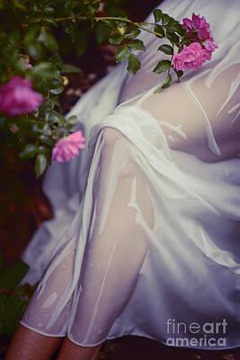 Photograph - Woman Legs Under Wet Summer Dress In Rose Garden Art Photo Print by Oleksiy Maksymenko