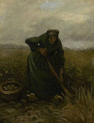 Painting - Woman Lifting Potatoes Nuenen, July - August 1885 Vincent Van Gogh 1853 - 1890 by Artistic Panda