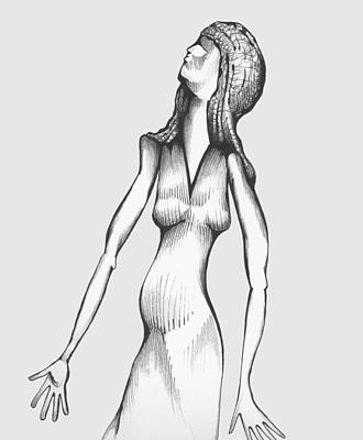 Art Print featuring the drawing Woman Looking To The Sky by Keith A Link