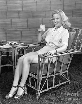 Woman Lounging With Milk, C.1940s Art Print