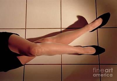 Woman Lying On Floor Art Print by Sami Sarkis
