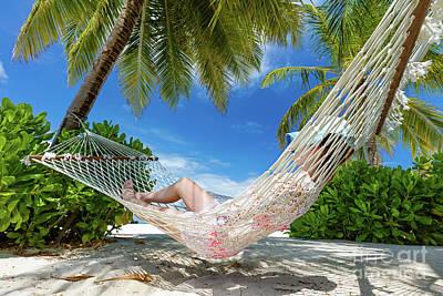 Net Photograph - Woman Lying On Hammock Between Palms On A Tropical Beach by Michal Bednarek