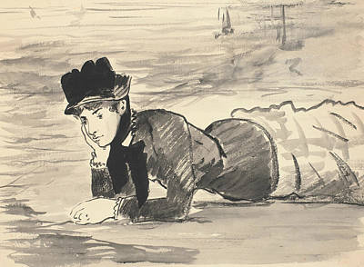 Realist Drawing - Woman Lying On The Beach by Edouard Manet