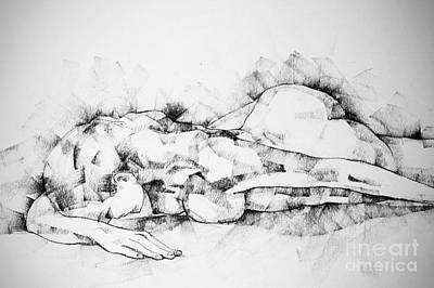 Drawing - Woman Lying On The Floor Life Drawing Female Figure by Dimitar Hristov