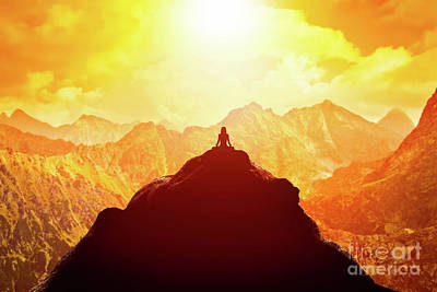 Cloudscape Photograph - Woman Meditating In Sitting Yoga Position On The Top Of A Mountains Above Clouds At Sunset. by Michal Bednarek