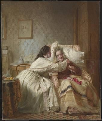 Comfort Painting - Woman Mission Comfort Of Old Age by George Elgar Hicks