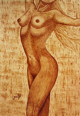 Painting - Woman Nude Original Coffee Painting by Georgeta Blanaru