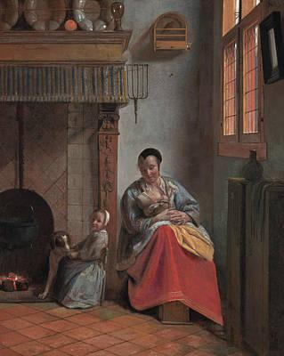 Pieter De Hooch Wall Art - Painting - Woman Nursing A Child by Pieter de Hooch